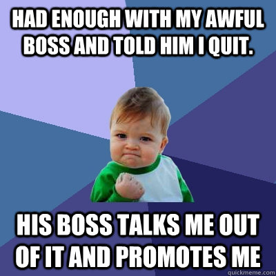 Had enough with my awful boss and told him I quit. His boss talks me out of it and promotes me - Had enough with my awful boss and told him I quit. His boss talks me out of it and promotes me  Success Kid