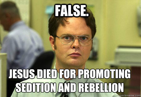 false.   jesus died for promoting sedition and rebellion  - false.   jesus died for promoting sedition and rebellion   Schrute