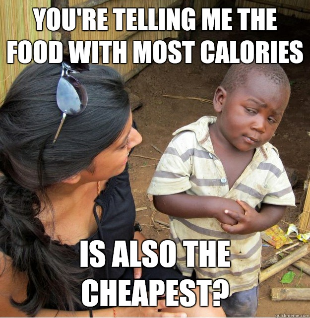 You're telling me the food with most calories Is also the cheapest?  - You're telling me the food with most calories Is also the cheapest?   Skeptical Third World Kid