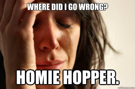 a037b50aa6db1126f5018b32dc99c17232c6bb8478b3c779bb068df630f62e01 where did i go wrong? homie hopper first world problems quickmeme,Homie Hopper Meme