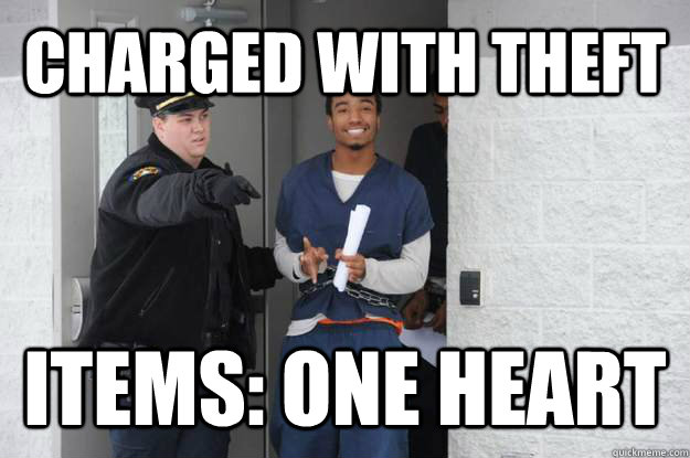 CHARGED with theft Items: one heart - CHARGED with theft Items: one heart  Ridiculously Photogenic Prisoner