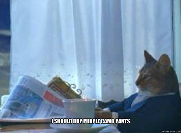 I should Buy Purple Camo Pants - I should Buy Purple Camo Pants  I should buy a boat cat