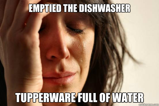 Emptied the dishwasher Tupperware full of water  First World Problems
