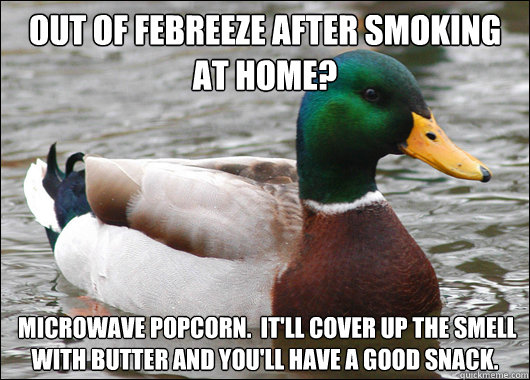 Out of Febreeze after smoking at home?  Microwave popcorn.  It'll cover up the smell with butter and you'll have a good snack. - Out of Febreeze after smoking at home?  Microwave popcorn.  It'll cover up the smell with butter and you'll have a good snack.  Actual Advice Mallard