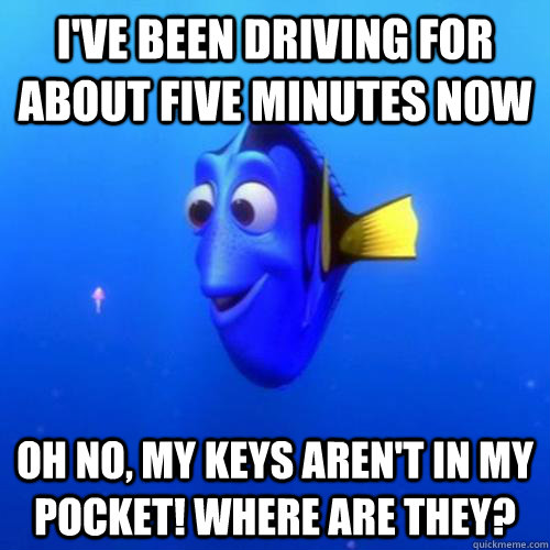 I've been driving for about five minutes now oh no, my keys aren't in my pocket! Where are they? - I've been driving for about five minutes now oh no, my keys aren't in my pocket! Where are they?  dory