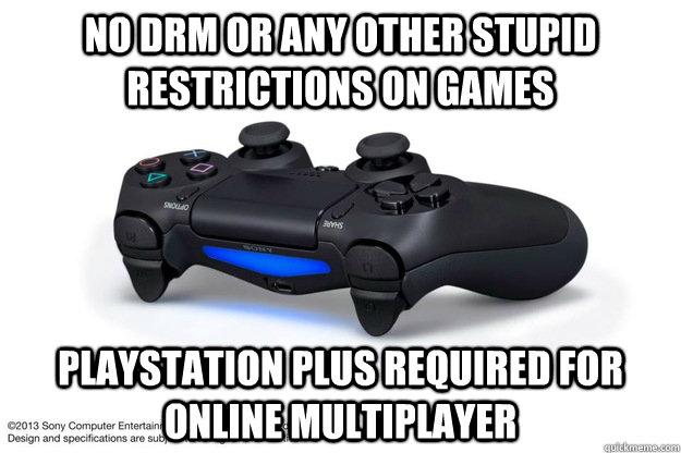 No drm or any other stupid restrictions on games Playstation PLUS REQUIRED FOR ONLINE MULTIPLAYER