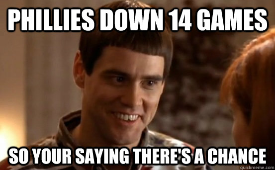 Phillies down 14 games so your saying there's a chance  Jim Carrey