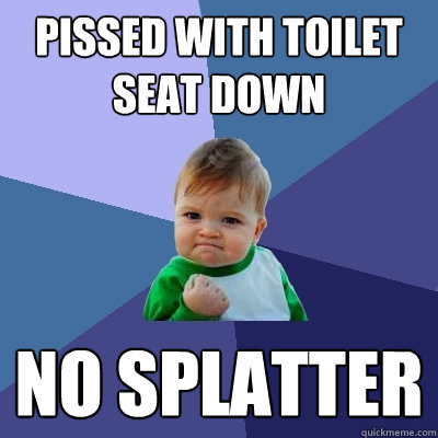 Pissed with toilet seat down no splatter - Pissed with toilet seat down no splatter  Success Kid