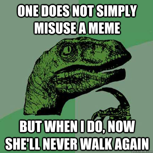 One does not simply misuse a meme but when I do, now she'll never walk again - One does not simply misuse a meme but when I do, now she'll never walk again  Philosoraptor