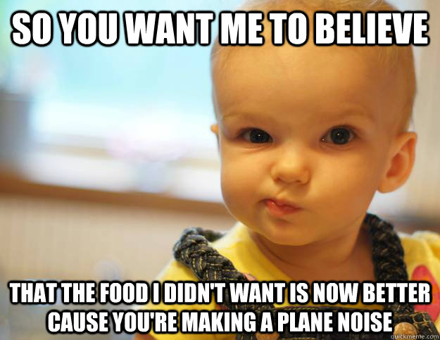 so you want me to believe that the food i didn't want is now better cause you're making a plane noise