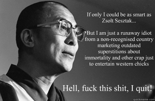 If only I could be as smart as Zsolt Sesztak...  But I am just a runaway idiot from a non-recognised country marketing outdated superstitions about immortality and other crap just to entertain western chicks Hell, fuck this shit, I quit!  Dalai Lama