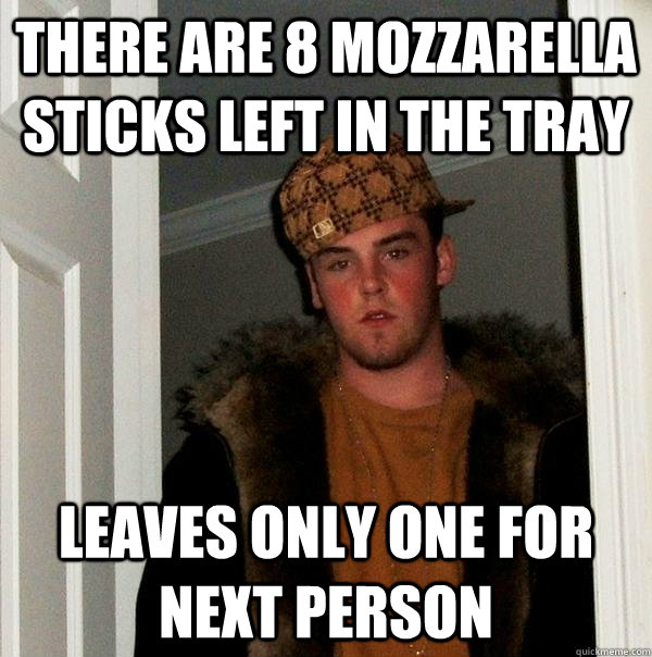 There Are 8 Mozzarella Sticks Left In The Tray Leaves Only One For