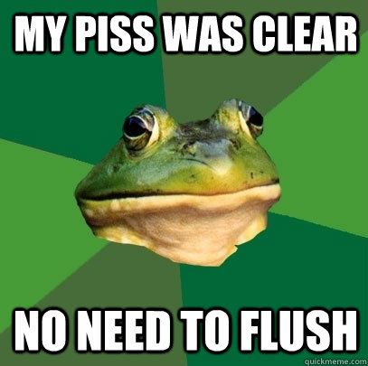 My piss was clear No need to flush - My piss was clear No need to flush  Foul Bachelor Frog