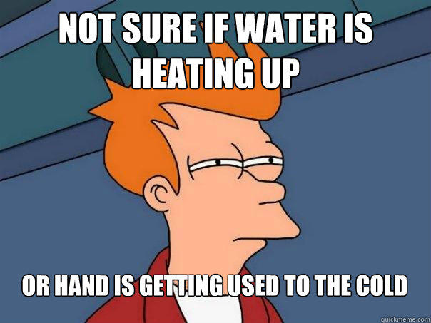 Not sure if water is heating up Or hand is getting used to the cold - Not sure if water is heating up Or hand is getting used to the cold  Futurama Fry