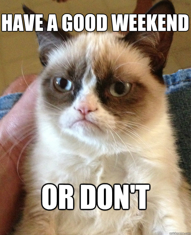 a14eec96d7198748b516ff70b71ce43046734b332ca5cf3b62258fe85def99af have a good weekend or don't grumpy cat quickmeme
