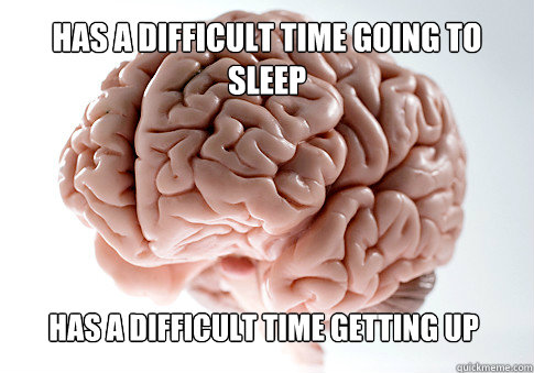 HAS A DIFFICULT TIME GOING TO  SLEEP HAS A DIFFICULT TIME GETTING UP - HAS A DIFFICULT TIME GOING TO  SLEEP HAS A DIFFICULT TIME GETTING UP  Scumbag Brain