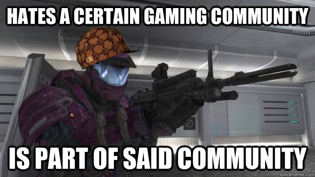 Hates a certain gaming community Is part of said community