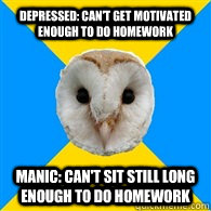 Depressed: Can't get motivated enough to do homework Manic: Can't sit still long enough to do homework