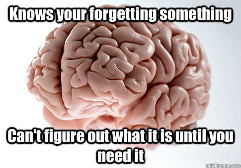 Knows your forgetting something  Can't figure out what it is until you need it - Knows your forgetting something  Can't figure out what it is until you need it  Scumbag Brain