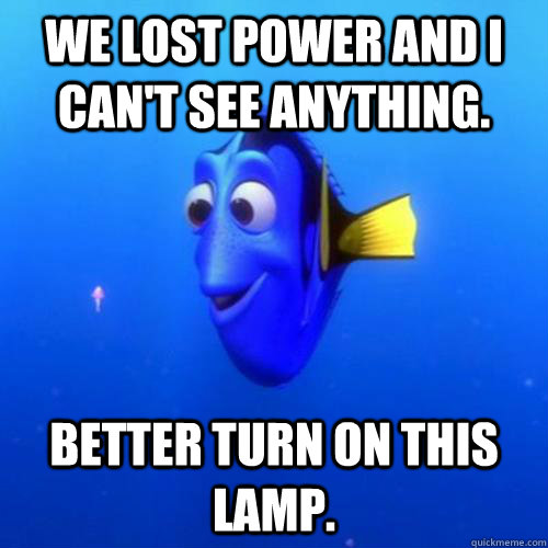 We lost power and i can't see anything. Better turn on this lamp. - We lost power and i can't see anything. Better turn on this lamp.  dory