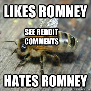 Likes Romney hates romney see reddit comments