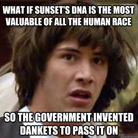 What if sunset's DNA is the most valuable of all the human race  so the government invented dankets to pass it on  conspiracy keanu