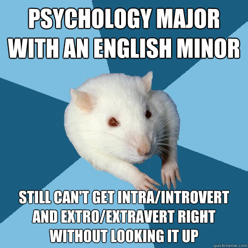 Psychology Major with an English minor Still can't get intra/introvert and extro/extravert right without looking it up