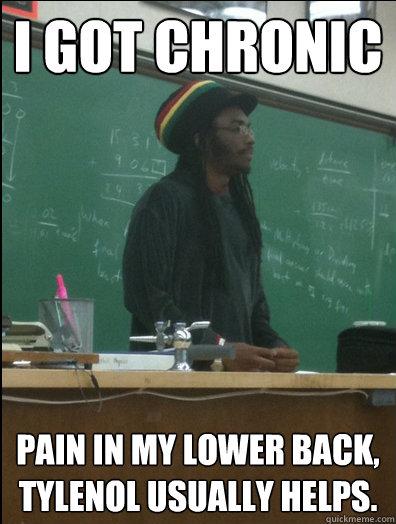 i got chronic pain in my lower back, tylenol usually helps.  Rasta Science Teacher