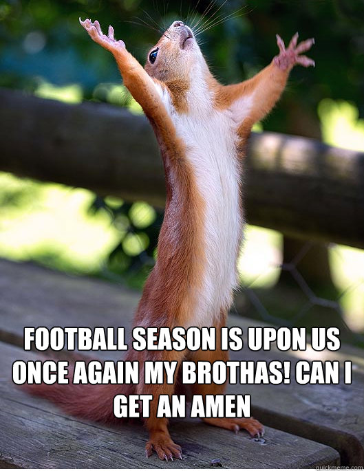 Football season is upon us once again my Brothas! CAN I GET AN AMEN  Hallelujah Squirrel