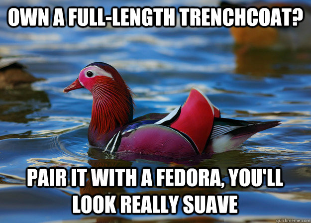 Own a full-length trenchcoat? Pair it with a fedora, you'll look really suave  Malicious Fashion Advice Mallard