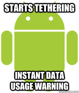 Starts tethering instant data usage warning
