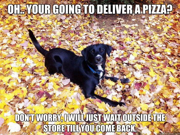Oh.. Your going to deliver a pizza? don't worry, I will just wait outside the store till you come back.