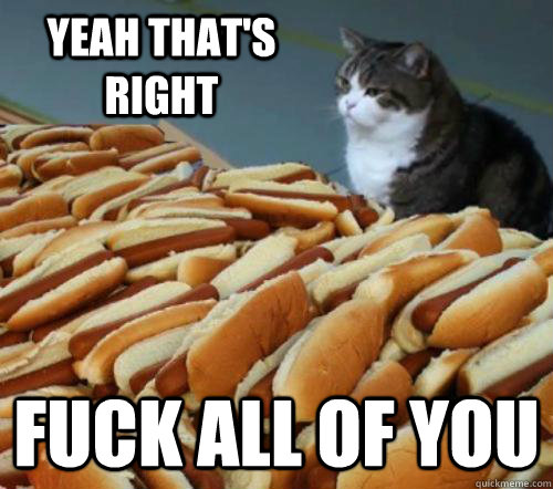Yeah that's right Fuck all of you - Yeah that's right Fuck all of you  Cat And Hotdogs