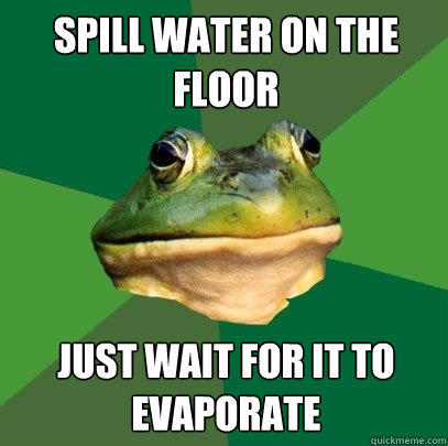 spill water on the floor just wait for it to evaporate - spill water on the floor just wait for it to evaporate  Foul Bachelor Frog