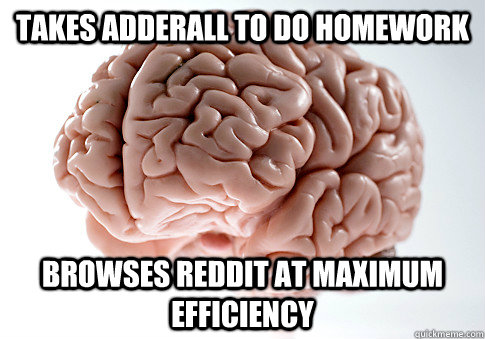 Takes Adderall to do homework browses reddit at maximum efficiency - Takes Adderall to do homework browses reddit at maximum efficiency  Scumbag Brain