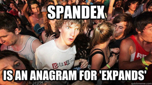SPANDEX IS AN ANAGRAM FOR 'EXPANDS' - SPANDEX IS AN ANAGRAM FOR 'EXPANDS'  Sudden Clarity Clarence