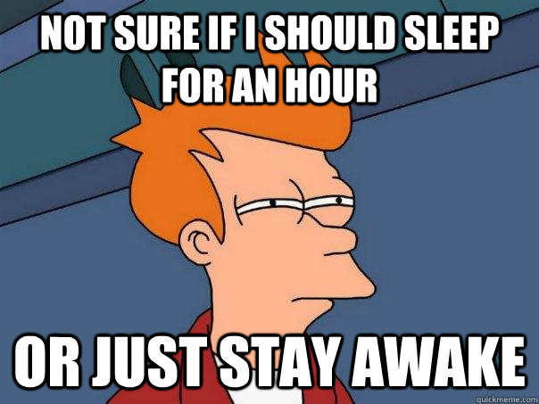 Not sure if i should sleep for an hour Or just stay awake - Not sure if i should sleep for an hour Or just stay awake  Futurama Fry