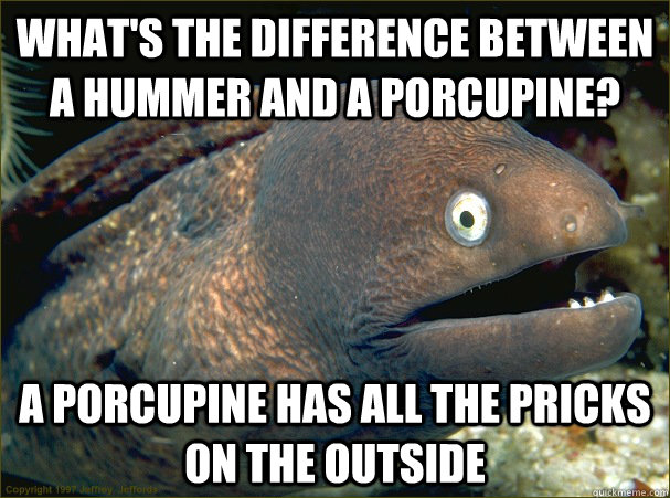 What's the difference between a hummer and a porcupine? a porcupine has all the pricks on the outside - What's the difference between a hummer and a porcupine? a porcupine has all the pricks on the outside  Bad Joke Eel