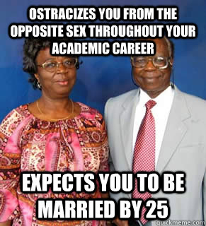 Ostracizes you from the opposite sex throughout your academic career  Expects you to be married by 25   African Parents