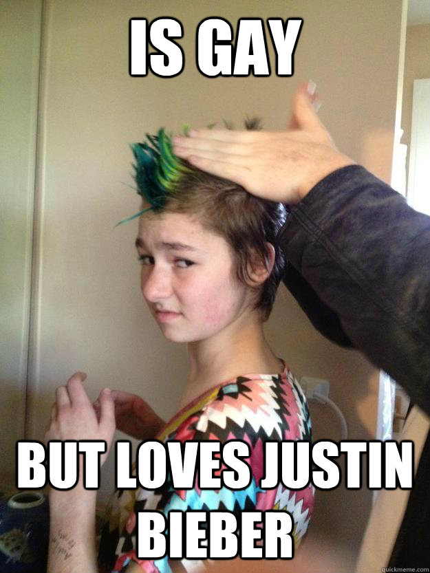 is gay but loves justin bieber - is gay but loves justin bieber  Annoying Teen Lesbian