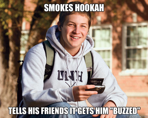Smokes Hookah Tells his friends it gets him