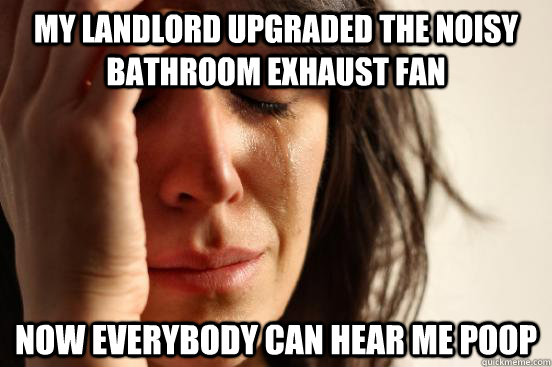 My landlord upgraded the noisy bathroom exhaust fan Now everybody can hear me poop - My landlord upgraded the noisy bathroom exhaust fan Now everybody can hear me poop  First World Problems