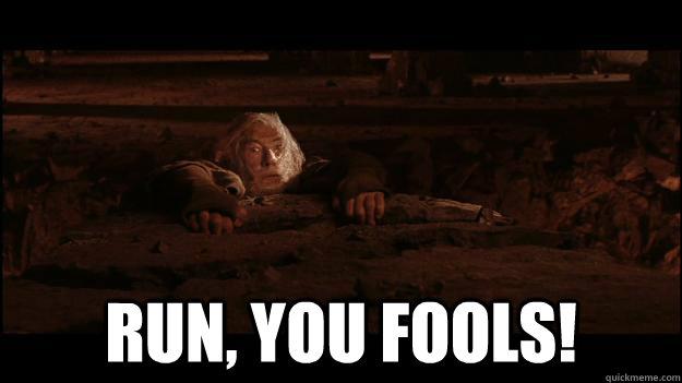 RUN, YOU FOOLs!  Gandalf