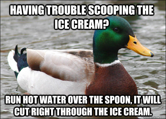 Having trouble scooping the ice cream? Run hot water over the spoon, it will cut right through the ice cream. - Having trouble scooping the ice cream? Run hot water over the spoon, it will cut right through the ice cream.  Actual Advice Mallard