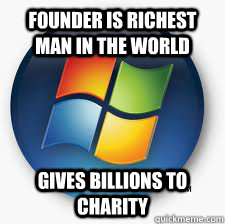 Founder is richest man in the world Gives billions to charity  Good Guy Microsoft