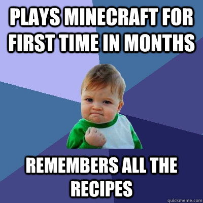 Plays minecraft for first time in months remembers all the recipes - Plays minecraft for first time in months remembers all the recipes  Success Kid