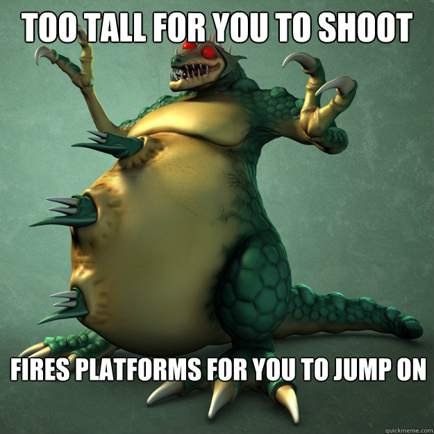 too tall for you to shoot fires platforms for you to jump on - too tall for you to shoot fires platforms for you to jump on  kraid