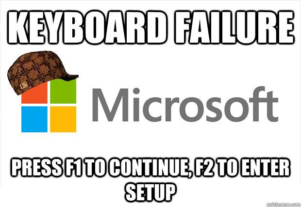 Keyboard Failure Press F1 to continue, F2 to enter setup