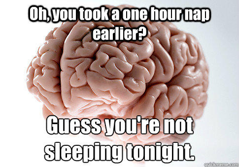 Oh, you took a one hour nap earlier? Guess you're not sleeping tonight. - Oh, you took a one hour nap earlier? Guess you're not sleeping tonight.  Scumbag Brain