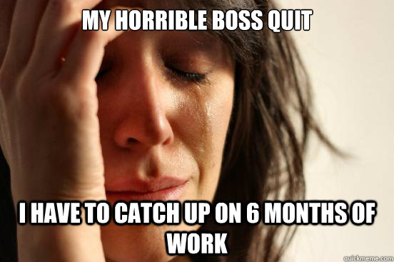 My horrible boss quit i have to catch up on 6 months of work - My horrible boss quit i have to catch up on 6 months of work  First World Problems